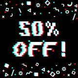50 off sale banner. Vector 50 percent off sale 8-bit pixel art style banner. Text with glitch effect and geometric decor elements. Black background Royalty Free Stock Image