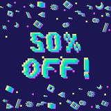 50 off sale banner. Vector 50 percent off sale 8-bit pixel art style banner. Text with glitch effect and geometric decor elements Stock Photography