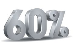 Percentage silver vector, 60. Vector of 60 percent in silver plated in white background Stock Photo