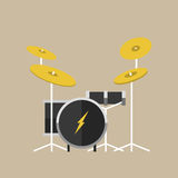Vector percussion musical instruments drumkit in flat style classical orchestral concert stage traditional national drum Royalty Free Stock Photos
