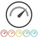 Vector performance measurement icon, speedometer icon, 6 Colors Included Royalty Free Stock Photography