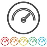 Vector performance measurement icon, speedometer icon, 6 Colors Included Royalty Free Stock Images