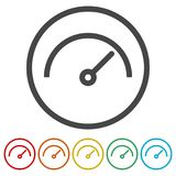 Vector performance measurement icon, speedometer icon, 6 Colors Included Stock Image