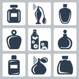 Vector perfume bottles icons set Royalty Free Stock Images