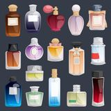 Vector perfume fashion container bottle pack template smell spray illustration perfume shop symbols elegant merchandise. Gift. Beauty liquid luxury fragrance Stock Photography