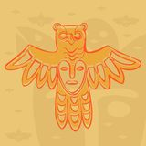 Vector Permian bronze gods. Vector Permian animal style, bronze gods bird with a mask on his chest Royalty Free Stock Image