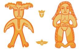 Vector Permian bronze idol too. Vector isolation Permian animal style, man-moose and golden woman Stock Photos