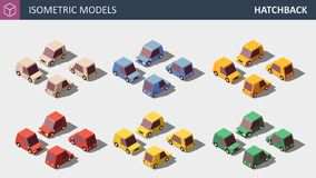 Vector Personal Cars Set in Six Colors. stock illustration