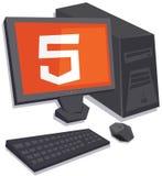 Vector Personal-Computer mit Logo html5 auf dem lokalisierten Schirm Stockbilder