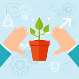 Vector personal development concept in flat style. Green plant and human hands Stock Photo