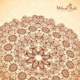 Vector perspective mehndi mandala in henna tattoo Royalty Free Stock Image