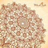 Vector perspective mehndi mandala in henna tattoo Royalty Free Stock Images