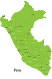 Vector Peru map. Peru map designed in illustration with the district colored in green and with the main cities Stock Image