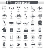 Vector Pet animal black icon set. Dark grey classic icon design for web. Royalty Free Stock Photo