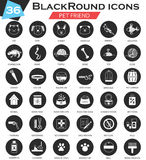 Vector pet animal circle white black icon set. Ultra modern icon design for web. Stock Image
