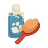 Vector pet brush and shampoo Royalty Free Stock Image