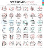 Vector pet friend color line outline icons for apps and web design. Home animal pet icons. Stock Images