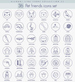 Vector pet friends outline icon set. Elegant thin line style design. Royalty Free Stock Images