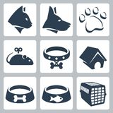 Vector pet icons set. Cat and dog, pawprint, mouse and collar, kennel, bowls, cage Stock Photos