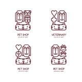Vector pet shop, veterinary outline logo, emblem, label design. Design concept for vet, pet care, cats and dogs grooming. Set of pet shop, veterinary outline stock illustration