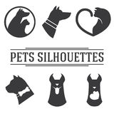 Vector pets silhouettes collection Stock Images