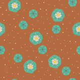 Vector peyote lophophora cactus seamless pattern. Vector floral peyote lophophora cactus green brown seamless pattern wallpaper background Royalty Free Illustration