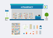 Vector pharmacy set design Royalty Free Stock Image