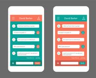 Vector phone chat interface. Sms messages. Speech bubbles. Short message service bubbles. Flat interface. Ui ux unterface Royalty Free Stock Photography