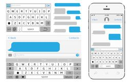Vector phone chat interface. Sms messenger. Speech bubbles. Vector illustration Royalty Free Stock Images