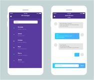 Vector phone chat interface. Sms messages. Speech bubbles. Short message service bubbles. Flat interface. Ui ux unterface Royalty Free Stock Images