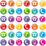 Vector phone icons. Vector illustration of various colorful phone icons Royalty Free Stock Photography
