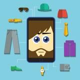 Vector phone man shopping. File format eps 10 Royalty Free Stock Photos