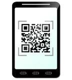 Vector phone with qr code concept Royalty Free Stock Photo