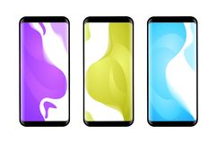 Vector phone x wallpaper collection. Editable gradient wallpapers background into phone shape.