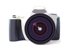Vector photo camera. On white background Royalty Free Stock Photography
