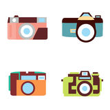 Vector photo camera icons set in flat style. Vector illustration photo camera icons set in flat style Royalty Free Stock Image