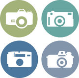 Vector photo camera icons set in flat style. Vector illustration photo camera icons set in flat style Stock Image