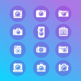 Vector photo camera retro and new icon set Royalty Free Stock Photography