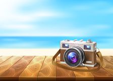 Vector photo camera wood walkway seaside coastline. Vector realistic vintage retro film photo camera on wooden floor deck timbers walkway beach coast coastline stock illustration