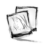 Vector:  Photo frame with brushwork style.  Stock Image