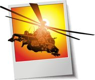 Vector photo frame with helicopter. Vector military strike helicopter. Available AI-10 vector format Stock Image