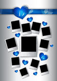 Vector photo frames with blue hearts for couples in love Royalty Free Stock Photography