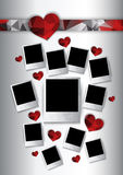 Vector photo frames with hearts. Polygonal geometric stylized design Royalty Free Stock Image