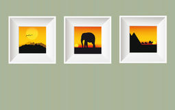 Vector photo frames on wall. Vector illustration of photo frames on wall with africa pictures Royalty Free Stock Photography