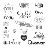 Vector Photo Overlays, Hand Drawn Lettering Stock Photography