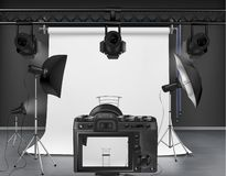 Vector photo studio with equipment for photography. Vector photo studio with white roll-up screen, digital camera, spotlights and softboxes on tripod stands stock illustration