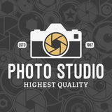 Vector Photo Studio Logo over Camera Shutter and Lenses Pattern Royalty Free Stock Photography