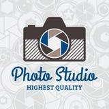 Vector Photo Studio Logo over Camera Shutter and Lenses Pattern. Vector photo studio logo. Photographer logo. Photo camera and lens icon. Photo company branding Stock Image
