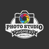 Vector Photo Studio Logo. Retro styled vector photo studio logo. Photographer logo. Photo camera and lens icon. Photo company branding identity Royalty Free Stock Photo