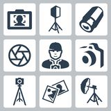 Vector photographer and photo equipment icons Stock Images